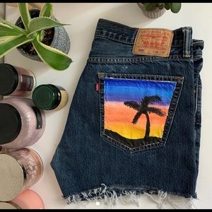 Levis hand painted high waisted shorts